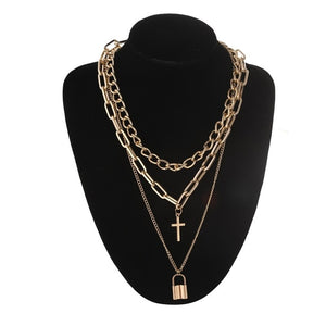 Layered punk chain necklace lock pendant necklace women men choker metal padlock chains goth jewelry grunge aesthetic accessory
