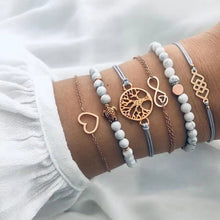 Load image into Gallery viewer, 31 Styles Boho Mixed Leaves Letter Map Geometric Crystal Infinity  Pentagram Shell Multi-layer Chain Bracelet Women Wholesale