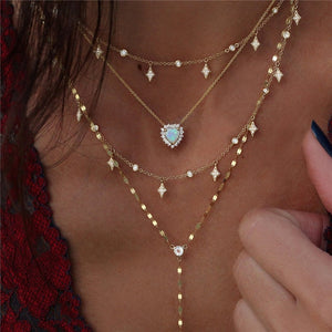 Boho Multi-element Crystal Necklaces For Women Fashion Gold Necklace Vintage Multiple Layers Pendant Necklace Jewelry Gift