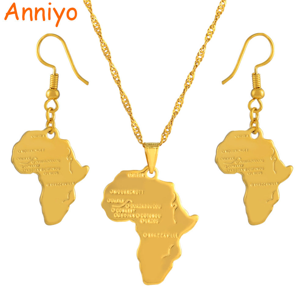 Anniyo Africa Map Jewelry set Pendant Necklaces Earrings Gold Color Map of African Ethiopian Nigeria Sudan Congo sets #002306S