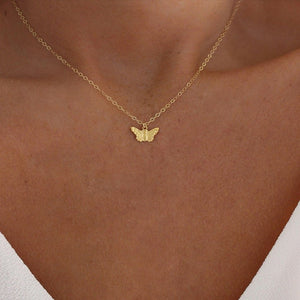 Fashion Choker Necklace Lovely Golden Silver Plated Butterfly Necklace Short Women Summer Holiday Romantic Gift Jewelry Wholesal