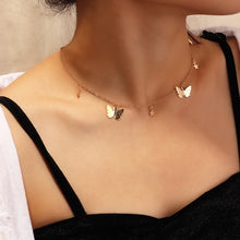Load image into Gallery viewer, Fashion Choker Necklace Lovely Golden Silver Plated Butterfly Necklace Short Women Summer Holiday Romantic Gift Jewelry Wholesal