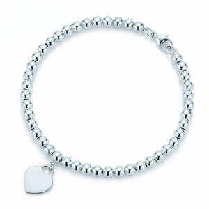 100% 925 Sterling Silver Original Tiff Heart Shaped Pendant Bracelet Jewelry Charm Brand Design For Women Logo Fine Jewelry Gift