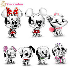 Load image into Gallery viewer, 2Pcs/Lot Silver plated mickey minnie Nemo Lilo&Stitch Aristocats DIY fine beads Fit Pandora Charm Bracelet Jewelry making