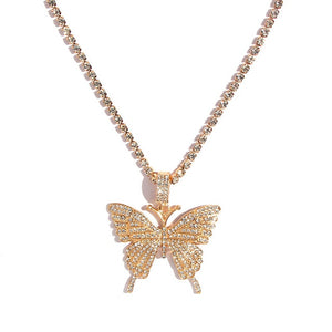 Kasajewel Gold Silver Color Butterfly Pendant Necklace Female Shiny Crystal Clavicle Chain Fashion New Design Jewelry Party Gift