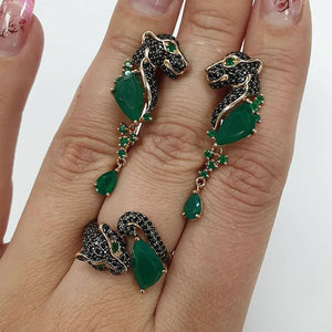 NPKDS Green Leopard Head Ring Round Enamel Necklace Ring Jewelry Set Animal Green Women Set