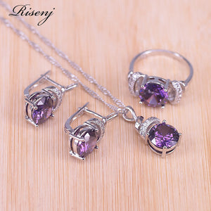 Risenj Turkey Style Many Colors Top Zircon & Crystal Silver Color Costume Jewelry Set Hoop Earrings Necklace Ring Pendant Set