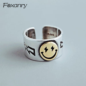 Foxanry 925 Sterling Silver New Terndy Width Smiling Face Rings Vintage Punk anillos Party Jewelry Gifts for Women Couples