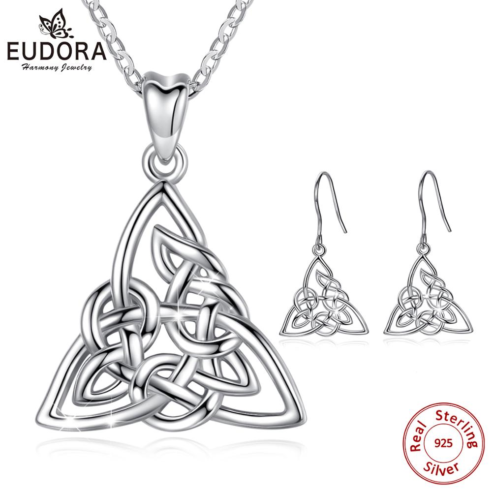 Eudora 925 Sterling Silver Geometrical line Triangle Jewelry set Irish Celtic Knot Pendant Necklace drop earring For Women Gifts