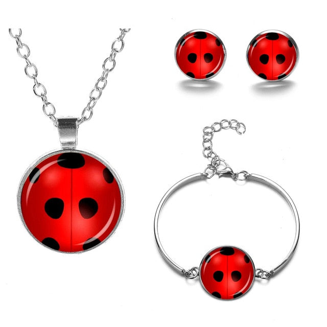 Cute Lovely Ladybug Jewelry Sets Red Lady Bug Art Photo Glass Dome Crescent Necklace Bracelet Earring Set Children's Gift