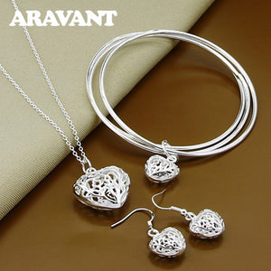 925 Silver Jewelry Sets Retro Love Heart Necklaces Bangles Drop Earrings For Women Gifts