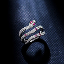 Load image into Gallery viewer, AAA Quality Fashion Pave Top Cubic Zirconia Multi Layer Circle Green Red Blue Eye Silver Snake Ring Monaco Jewelry For Women