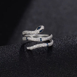 AAA Quality Fashion Pave Top Cubic Zirconia Multi Layer Circle Green Red Blue Eye Silver Snake Ring Monaco Jewelry For Women