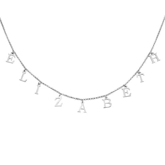 Wholesale Multiple Letter Names Necklace Choker Personalized Sterling silver Nameplate Pendant Necklace Jewelry Mom Dad Gifts