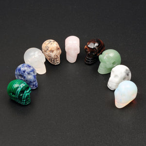 50pcs/lot Wholesale Women Natural Stone Opal Clear Quartz Crystal Skull Skeleton Charms Pendants For Fine Jewelry Making 17*20mm