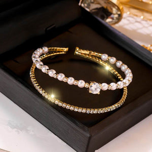 Double Layer Lucky Pearl Rhinestone Open Bracelets For Women Girls Fashion Jewelry 2020 New Arrival Charms Bracelets Fine Gifts