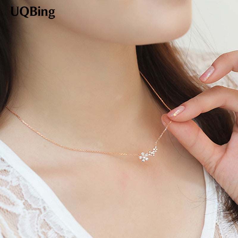 Fashion 925 Sterling Silver Necklaces Crystal Rhinestone Flower Pendants&Necklaces Jewelry Collar Colar de Plata