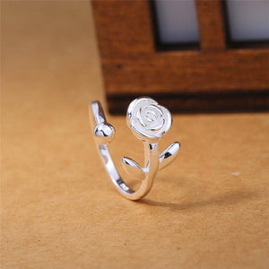 Sole Memory Retro Thai Silver Rose Cute Sweet Fresh Art 925 Sterling Silver Female Resizable Opening Rings SRI326