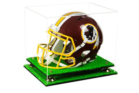 A002 Clear Gold-Risers Turf Base Football Helmet Display Case