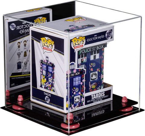 A Funko TARDIS (in box) featured inside a A028 10-inch display cube from Better Display Cases with pink risers
