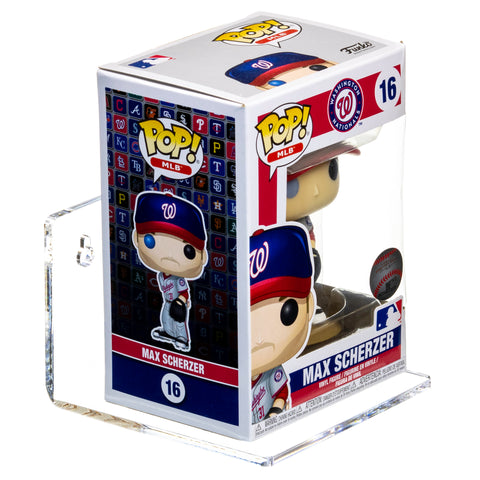 A Max Scherzer POP figure is seen sitting on an A083 5-inch x 5-inch x 3-inch floating acrylic shelf from Better Display Cases.