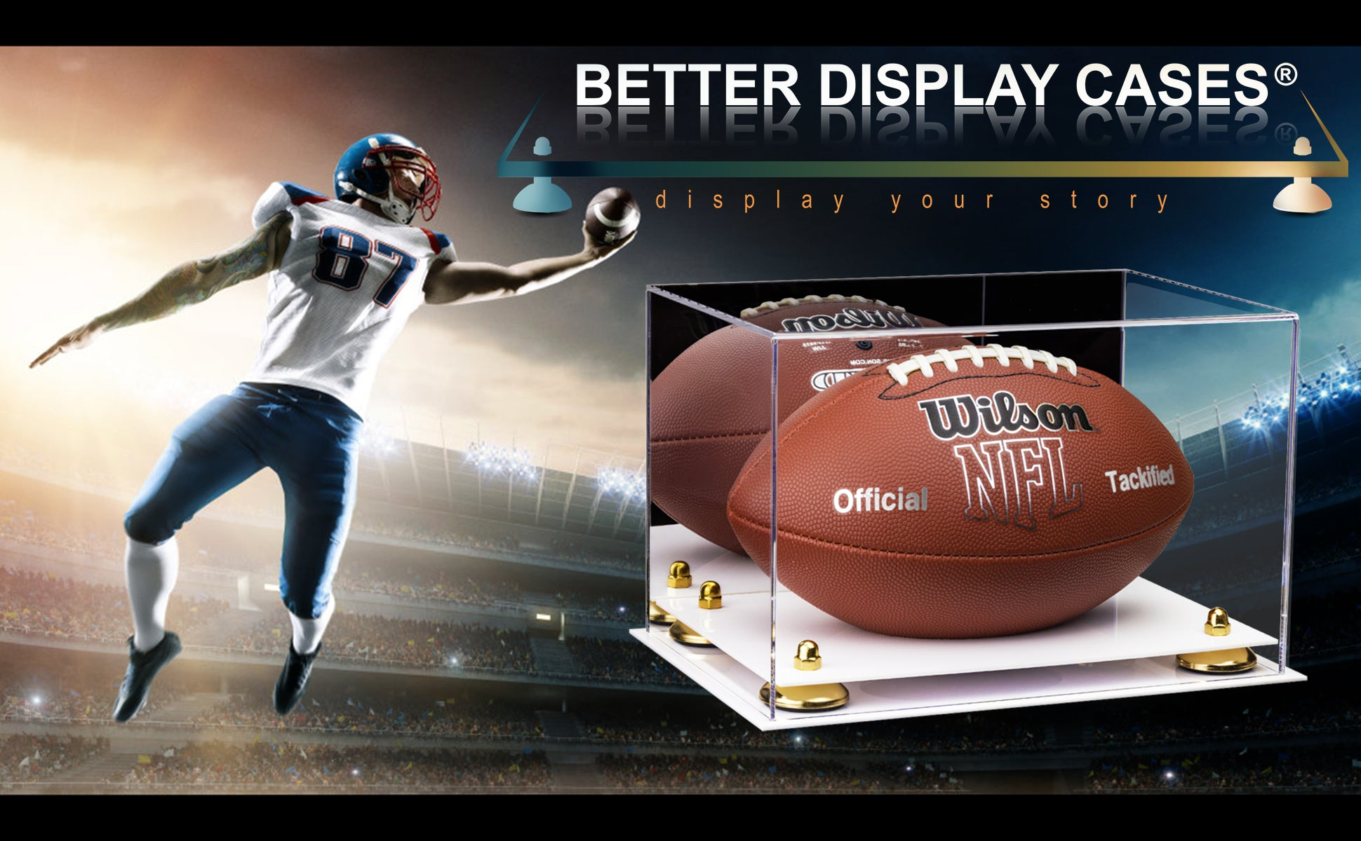 Full Sized Football Display Case - NFL, NCAA and more.