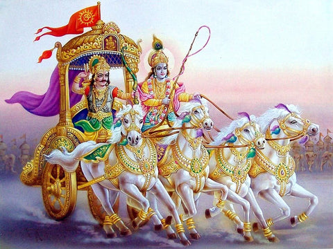 Artwork featuring the Hindu God Krishna seated on a chariot