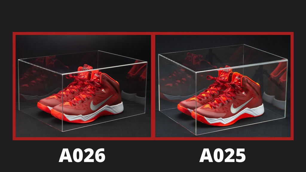 Nike Shoes in display cases showing size comparison