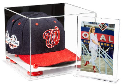 Aoo6 Baseball Cap display case with mirror, red risers, and white baseand A032A frame with the picture