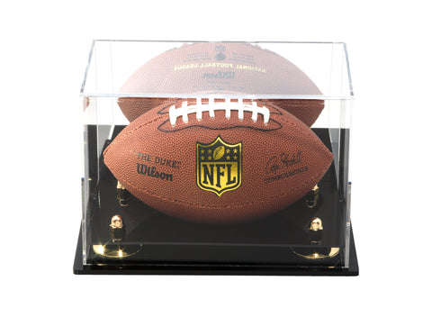 Acrylic Mini - Miniature (not Full Size) Football Display Case with Mirror, Wall Mount and Risers