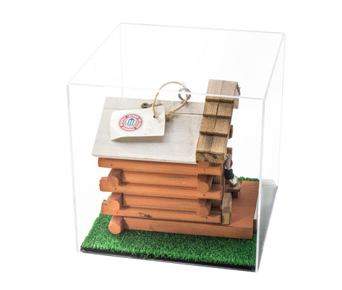 "Versatile Deluxe Acrylic Display Case - Medium Square Box with Turf Bottom 10"" x 10"" x 10"" (A028-TB), Display Case, Better Display Cases, Better Display Cases - Better Display Cases"