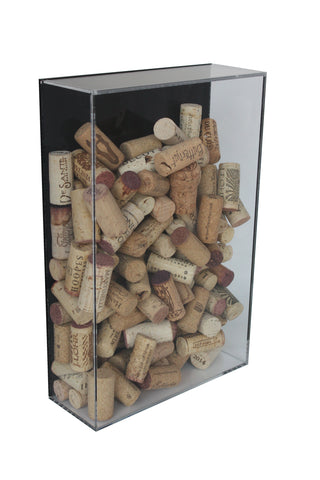 Deluxe Acrylic Bottle Cork or Tickets Holder Display Case with Black Back and Wall Mount (A051-BB), , Better Display Cases, Better Display Cases - Better Display Cases