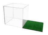 Deluxe Acrylic Full Size Soccer Ball Display Case <br><sub>with Mirror and Turf Floor (A007-TB) UPC: 641752957619, Display Case, Better Display Cases, Better Display Cases - Better Display Cases