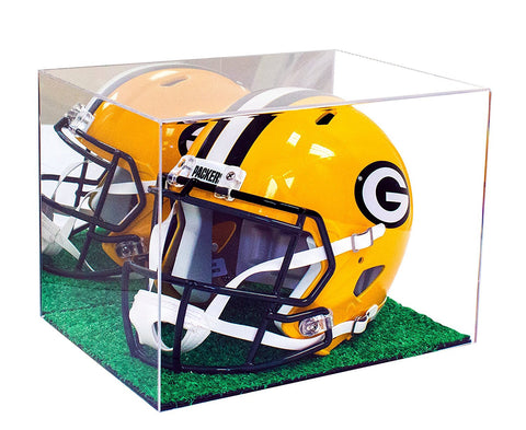 Football Helmet <br> Display Case With Turf <br> <sub> Full Sized NFL or NCAA <br> Mirrored or Clear