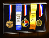 Deluxe Acrylic Five (5) Medal Award Display Case with Wall Mount <br><sub>for Military/Sports/Events (A080), Display Case, Better Display Cases, Better Display Cases - Better Display Cases