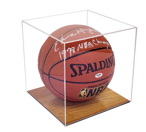 Deluxe Clear Acrylic Basketball Display Case with Simulated Wood Floor<br>(A008-WB)
