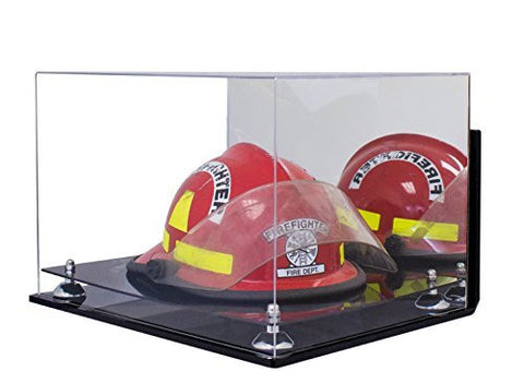 Deluxe Acrylic Fireman's Helmet Large Display Case with UV Protection with Mirror and Wall Mount
