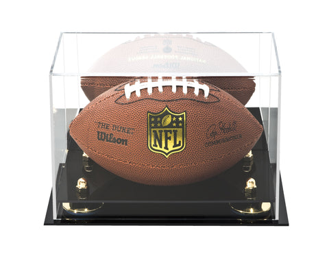 Acrylic Mini - Miniature (not Full Size) Football Display Case with Mirror and Risers