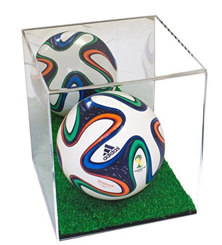 Mini Soccer Ball <br> Mirrored Display Case <br> with Turf Bottom <br><sub> FIFA, NCAA, and More! </sub>