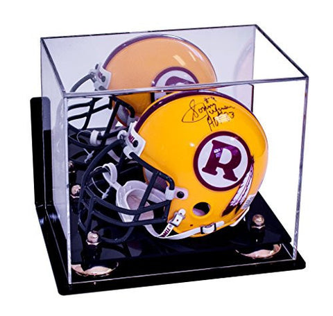 Acrylic Mini - Miniature (not Full Size) Football Helmet Display Case with Mirror, Wall Mount, Risers and Black Base