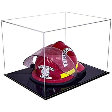 Deluxe Acrylic Fireman's Helmet Display Case<br><sub>with Black Acrylic Base (A014-DS)</sub>, Display Case, Better Display Cases, Better Display Cases - Better Display Cases