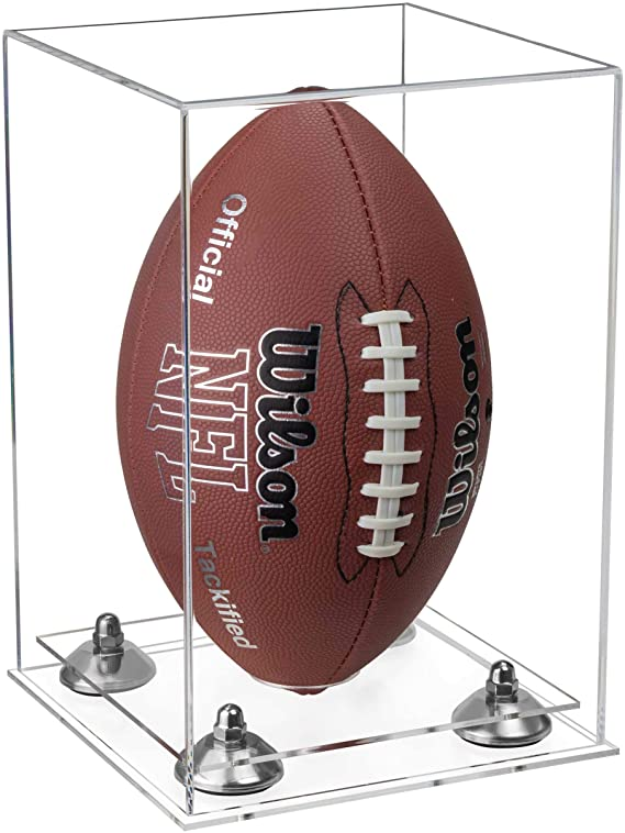 Clear Acrylic Full Size Football Display Case Vertical