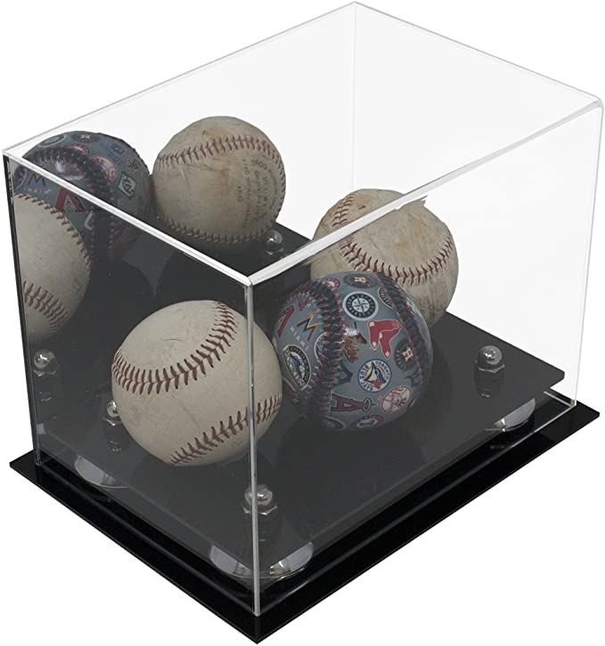 Versatile Clear Acrylic Display Case - Small Square Box with Turf Base  8.25 X 5.5 X 6