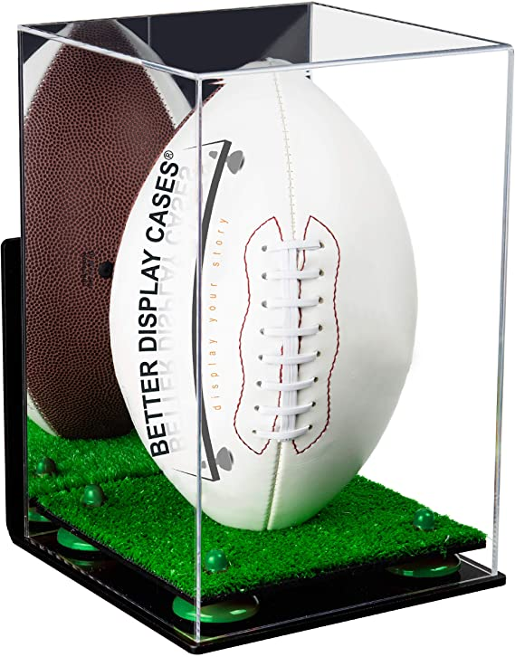 Acrylic Full Size Football Display Case Vertical with Mirror