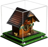 Versatile Clear Acrylic Display Case - Small Square Box with Turf Base 9.75 X 9.75 X 9.75