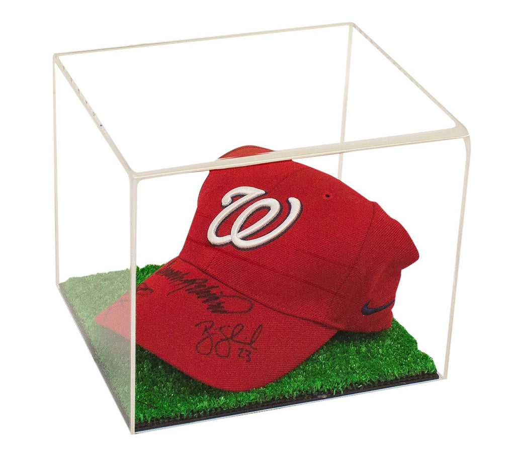 Baseball Cap Display Case Clear or Mirror with Turf Bottom (A006-TB)