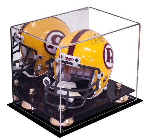 Acrylic Mini - Miniature (not Full Size) Football Helmet Display Case with Mirror, Risers and Black Base