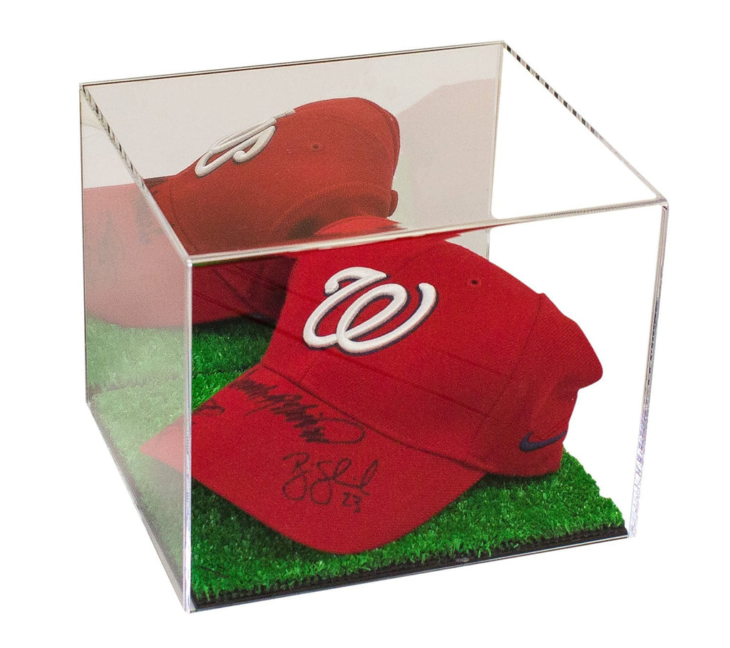 Mirrored Baseball Cap Display Case With Turf Bottom Better Display