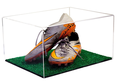 Cleat Display Case <br> With Turf Floor <br> And Mirror <br> <sub> Pro, NCAA, and more!