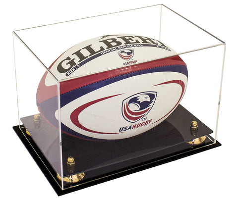 Clear Acrylic Rugby Ball Display Case with Risers and Black Base